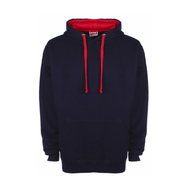 FDM Contrast Hoodie Navy / Fire Red