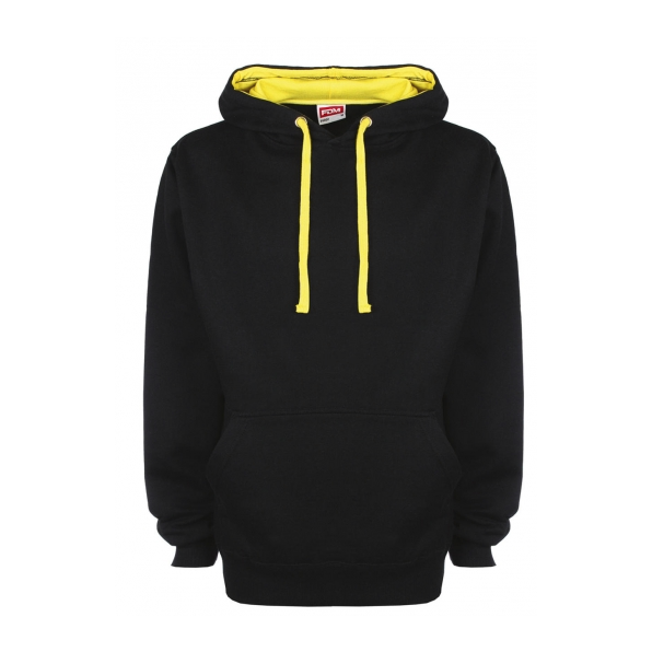 FDM Contrast Hoodie Black / Empire Yellow